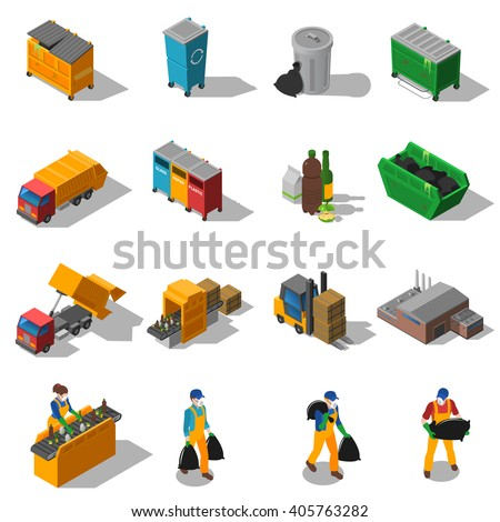Garbage recycling and green waste collection services and facilities isometric icons collection abstract isolated shadow vector illustration - stock vector
