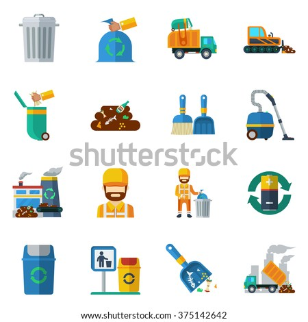 Garbage recycling flat color icons set of dump truck garbage can processing plant isolated vector illustration - stock vector