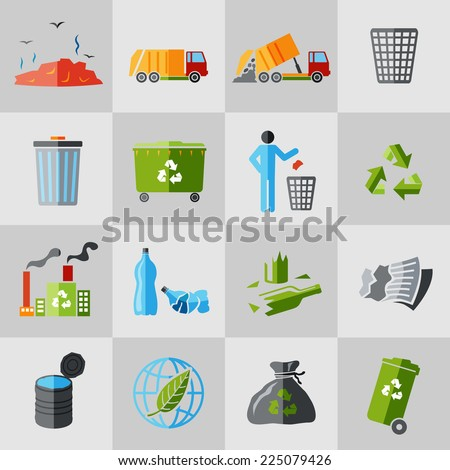 Garbage recycling icons flat set of dumpster basket waste isolated vector illustration - stock vector