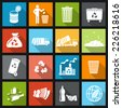Garbage recycling icons flat set of trash bin bottle litter isolated vector illustration - stock vector