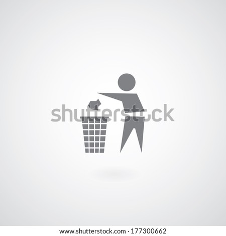 garbage symbol on gray background  - stock vector