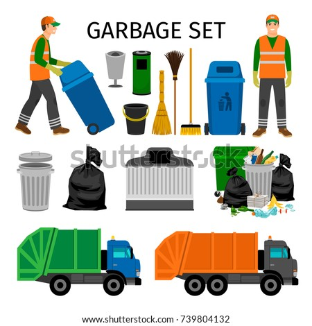 Garbage trucks, trash can and sweeper, colorful garbage collecting icons set on white background. Vector illustration