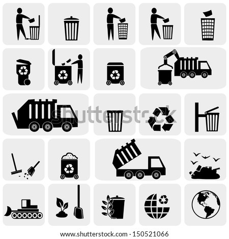 Garbage vector icons set on gray. - stock vector