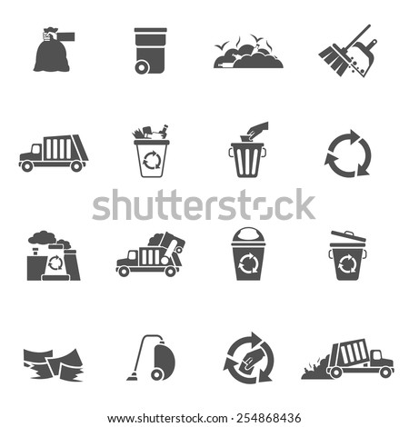 Garbage waste ecology recycling and pollution icons black set isolated vector illustration - stock vector