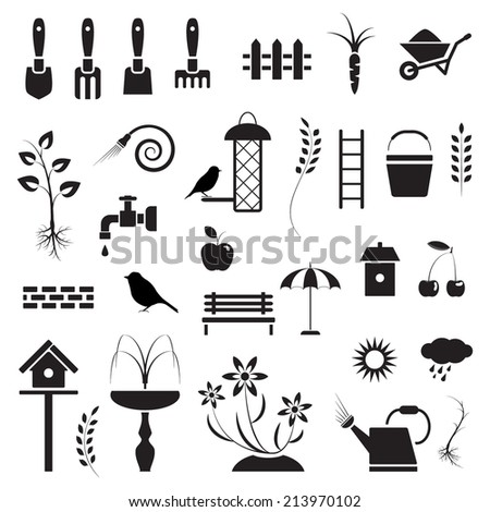 Garden and birds, icons set, black isolated on white background, vector illustration. - stock vector
