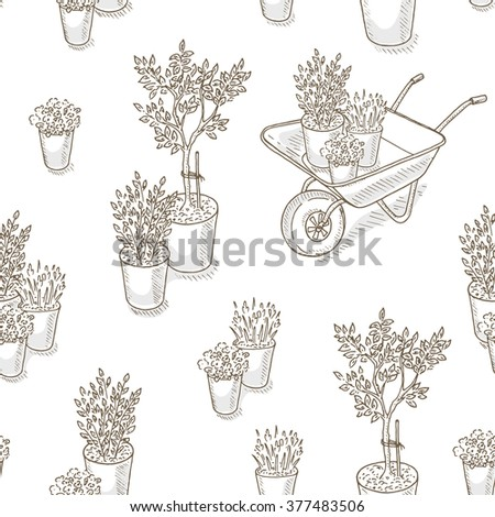 Garden and farm wallpaper. Farm background with seedlings, flower and garden cart. Packing for farm products. Farmers market seamless pattern. Garden equipment.  Gardening and farming sketch - stock vector