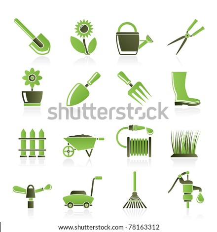 Garden And Gardening Tools And Objects Icons   Vector Icon Set