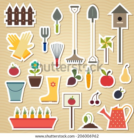 Garden and gardening tools icon set on a light wavy background. Vector illustration - stock vector