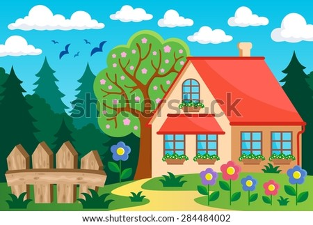 Garden and house theme background 3 - eps10 vector illustration.