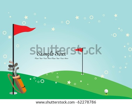 garden background with golf stick and flag - stock vector