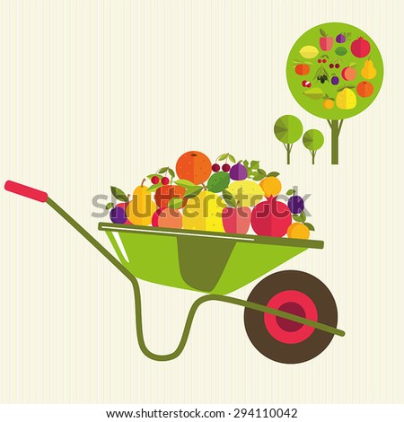 Garden cart with fruit. Gardening. It's time to harvest. - stock vector