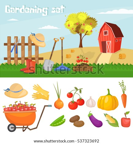 Garden Colorful Designs Elements Vector Farm Stock Vector 537323692