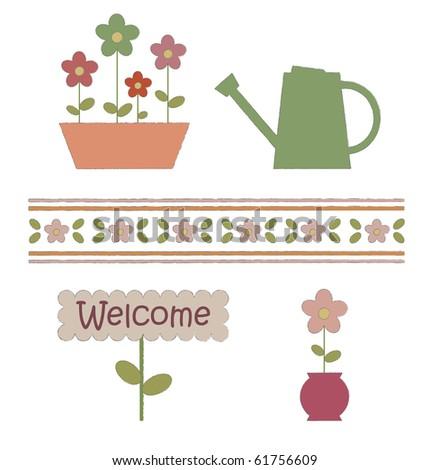 Garden elements. Vector illustration - stock vector