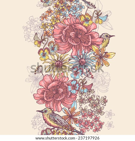 Garden flowers and birds vertical seamless ribbon. All objects are conveniently grouped  and are easily editable. - stock vector