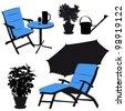 Garden furniture, vector silhouettes - stock vector