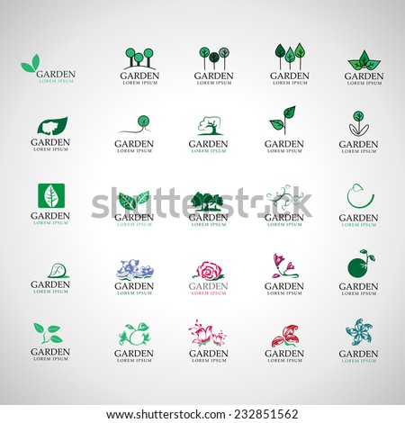 Garden Icons Set - Isolated On Gray Background - Vector illustration, Graphic Design Editable For Your Design  - stock vector