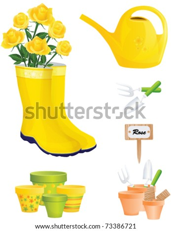 Garden Items and yellow roses, vector