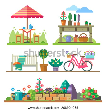 Garden landscapes, summer and spring: picnic, bike, watering can, flower bed. Vector flat  illustrations - stock vector