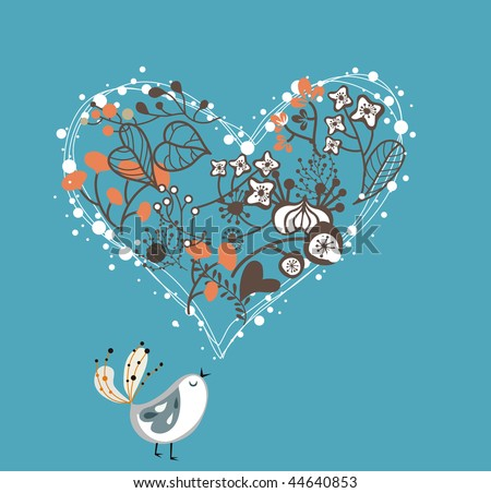 garden love bird - stock vector