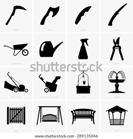 Garden objects - stock vector