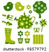 Garden objects and elements ( green ) - stock vector