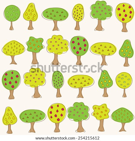 Garden pattern with different fruit doodle trees. Seamless vector background.