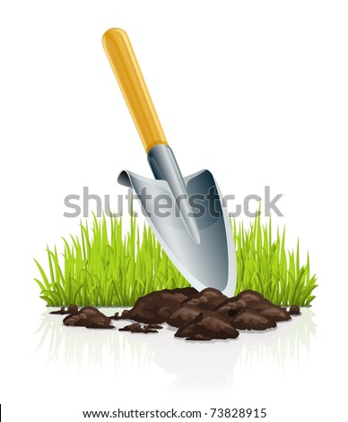garden scoop and grass vector illustration isolated on white background
