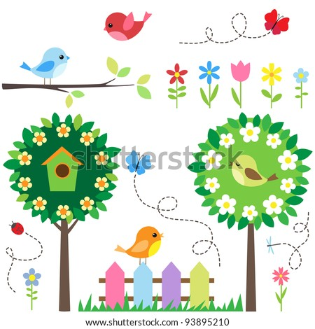 Garden set with birds, blooming trees, flowers and insects. - stock vector