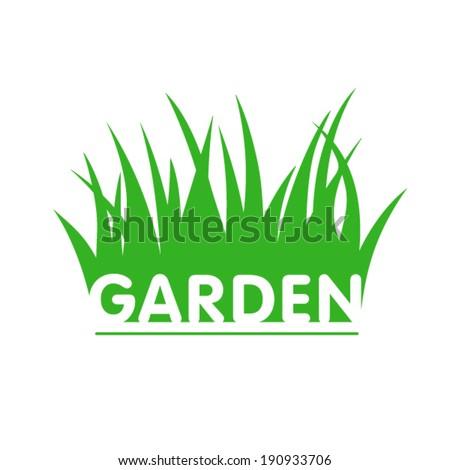 Garden sign with grass.  - stock vector
