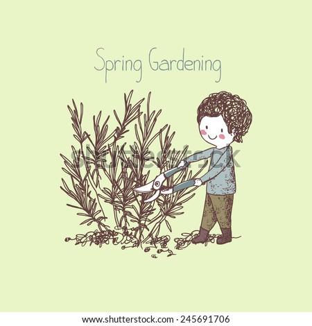 garden theme, boy pruning lavender - stock vector