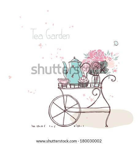 garden theme, vintage tea cart - stock vector