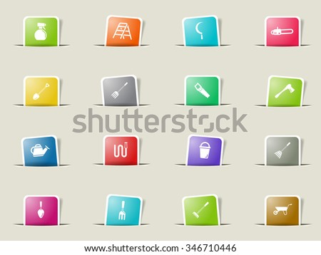 Garden tools paper icons for web - stock vector
