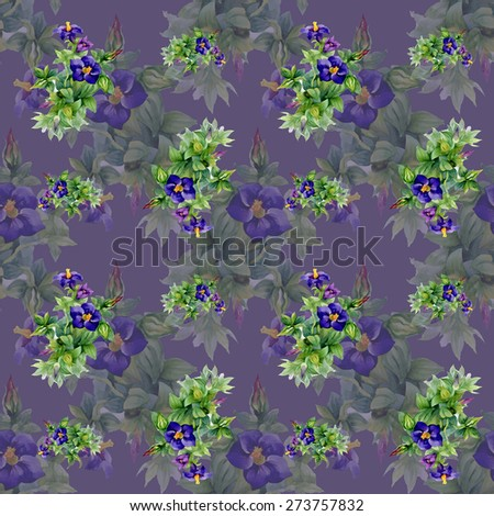 Garden watercolor floral seamless pattern on purple background vector illustration