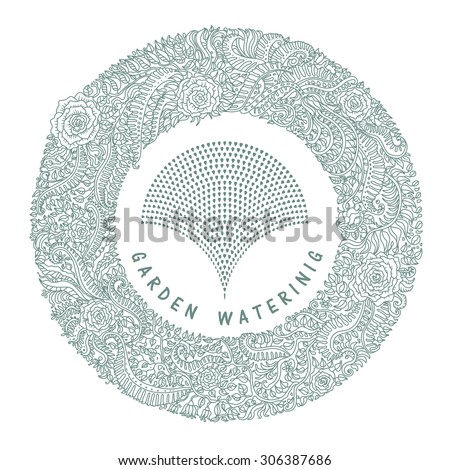 Garden watering emblem. Vector abstract green floral wreath from hand drawn  fantasy leaves and flowers silhouette  with fountain from small water drops on a white background - stock vector