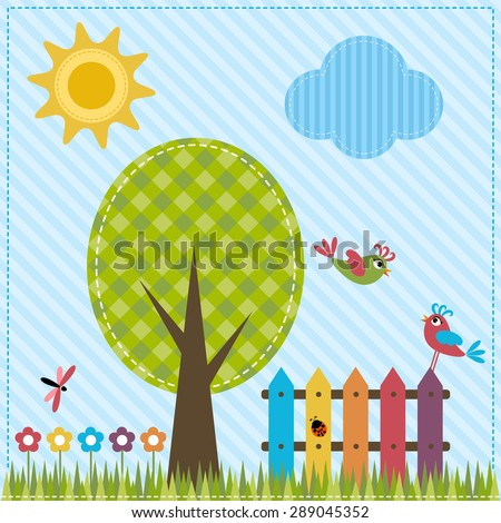 Garden with fence and birds - stock vector