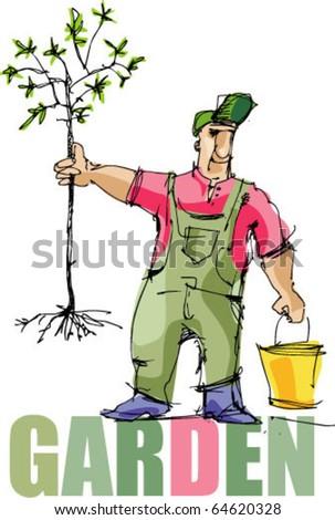 gardener - planting - handmade sketch - stock vector