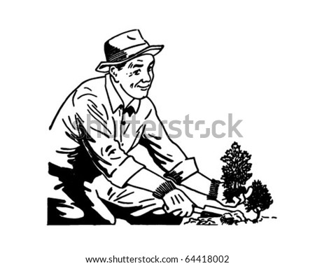 Gardener - Retro Clipart Illustration - stock vector