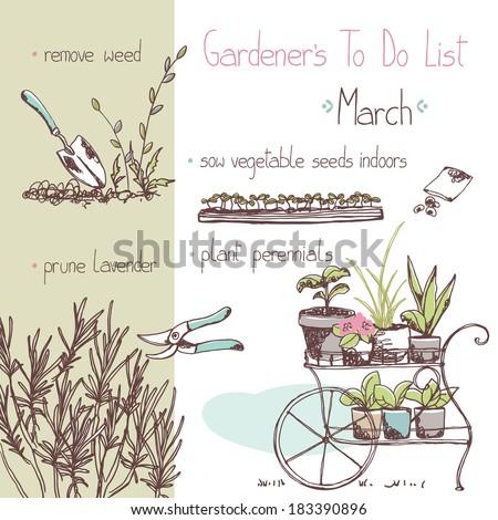 gardener`s to do list - march - stock vector