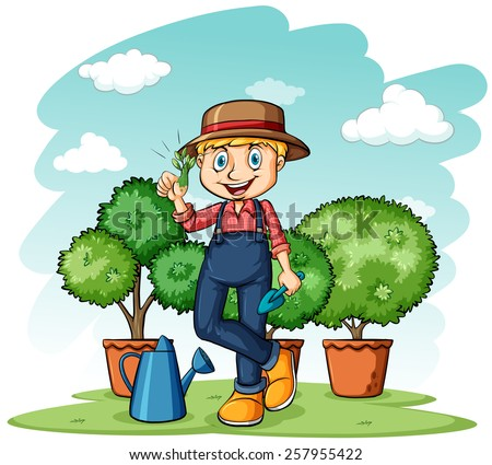 Gardener showing his thumb with a plant on a white background - stock vector