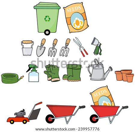 Gardener Tools. Vector Collection Set - stock vector