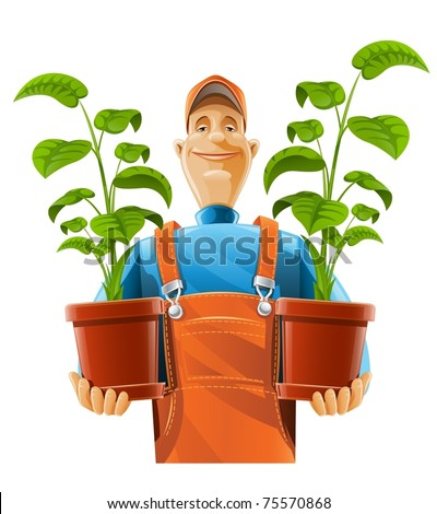 gardener with plant in flowerpot vector illustration isolated on white background - stock vector