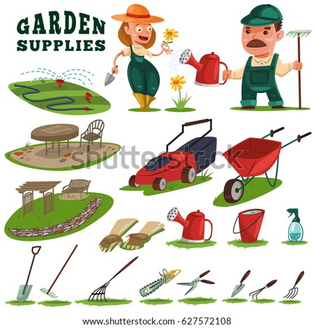 Gardeners man woman gardening supplies tools stock vector for Gardening tools cartoon