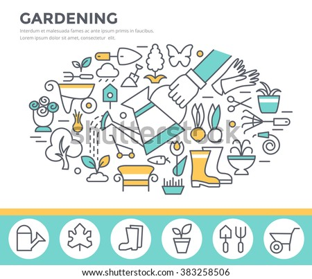 Gardening and horticulture concept illustration, thin line flat design - stock vector