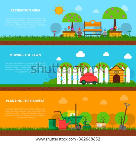Gardening banner horizontal set with lawn moving and harvest planting elements isolated vector illustration - stock vector