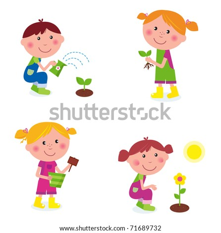 Gardening children collection isolated on white. VECTOR - stock vector