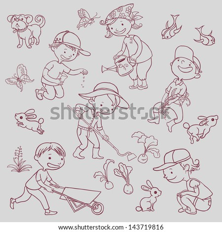 Gardening Children , Gardening objects, Animals, Birds, Dog, Bunnies, Plants collection isolated. Outline. VECTOR. - stock vector