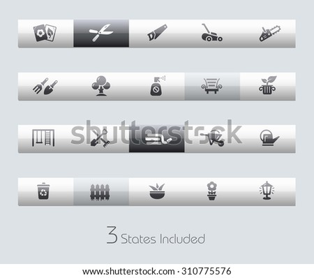 Gardening // Classic Bars +++ The vector file includes 3 buttons states in different layers. +++ - stock vector