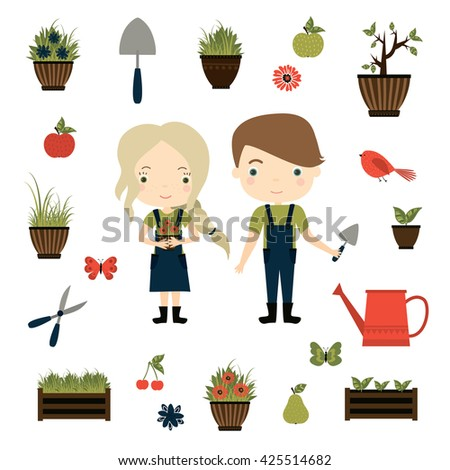 Gardening. Cute Girl With Flowerpot And Boy With Garden Tools. Vector Set