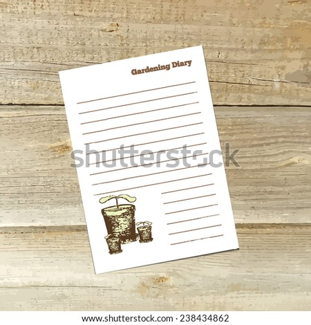 Gardening diary sheet with flower pot and plant on wood background. Vector, EPS 10