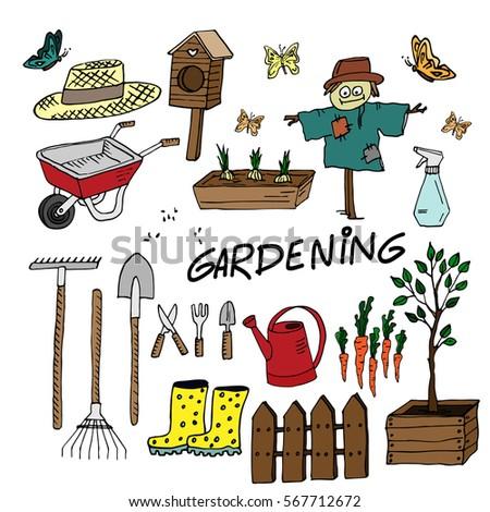 Attractive Gardening Equipment Set. Cute Sketched Garden Tools. Vector Illustration.